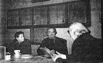 И.М. Поснова, о. Александр Мень и А. Ильц в Брюсселе. 1990 г.