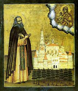 Преподобный Иосиф Волоцкий в молении на фоне монастыря. Икона XVII в. из Вознесенского монастыря Московского Кремля.