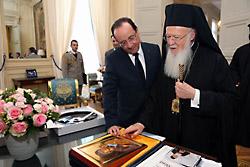 Патриарх Варфоломей и Франсуа Олланд в Елисейском дворцев. 12 декабря 2012 г.