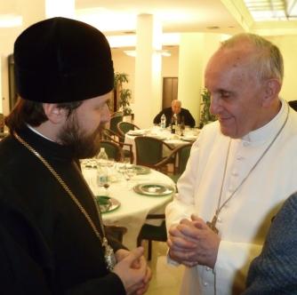 Митр. Иларион (Алфеев) и папа Франциск