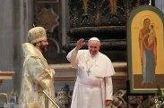 Папа симпатизирует не только православным, но и униатам. Франциск и глава украинских униатов Шевчук. 25 ноября 2013 г.